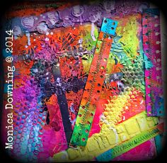 Here's my process...  I started with a piece of heavy weight cardstock...  Got out my Gelli Arts Gelli plate and reached for my Art Anthology Dimensional Crystals in Fairy, Peony, and Guave. I squeezed them out directly onto my gelli plate then got my brayer and started moving the colors around. I put down some different sized strips of scraps I had to create some white space on the 1st layer. This is the result...