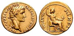 Augustus AV Aureus. Lyons mint, 13-14 AD. CAESAR AVGVSTVS DIVI F PATER PATRIAE, laureate head right / PONTIF MAXIM, female (Livia?) seated right, holding branch & sceptre. Coin highlighting Augustus' position as chief priest - Ponfifex Maximus.