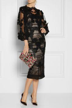 Dolce & Gabbana|Gerafftes Kleid aus Spitze und Tüll|NET-A-PORTER.COM