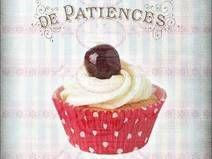 Vintage Shabby Bügelbild Cupcake Muffin Kirsche