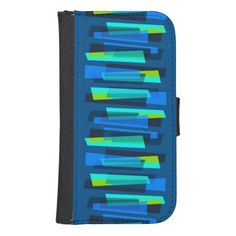 Retro Blue and Green Galaxy 4S Wallet Case #retro #wallet #Samsung #Galaxy4S #smartphone #cases #midcentury #MCM #Abstract #Zazzle