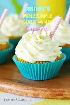 Pineapple Dole Whip cupcakes filled with fresh pineapple curd and frosted with tart pineapple frosting. A Disney inspired tropical treat. Baking Cupcakes, Yummy Cupcakes, Cupcake Recipes, Cupcake Cookies, Dessert Recipes, Fruit Cupcakes, Pineapple Frosting, Pineapple Cupcakes, Pineapple Whip