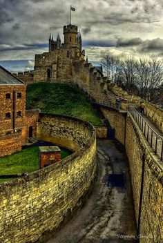 along the walls of the castle in Lincoln, Lincolnshire, England.