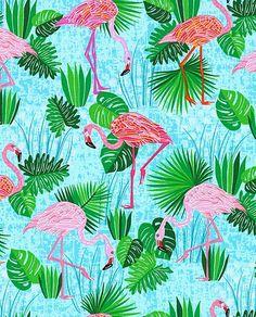 Telas estampadas - Tela FQ :: island jungle birds :: - hecho a mano por nosgustanlosretros en DaWanda