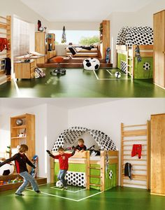 GOOOOOOOOOOOAALLLLLLLLLL  I like this it's like bedroom/play room, and the bed is made into the goal