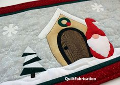 Gnome for the Holidays table runner as a wall hanging idea by QuiltFabrication Holiday Quilt Patterns, Scrap Quilt Patterns, Embroidered Quilts, Applique Quilts, Christmas Runner, Christmas Quilting, Quilt Kits, Quilt Blocks, Fourth Of July Decor