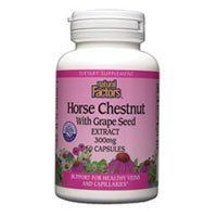 Natural Factors Horse Chestnut with Grape Seed Extract  350 Mg , 60- capsules by Natural Factors. $12.79. Horse Chestnut Extract Herbal Factors Horse Chestnut and Grape Seed is a superior combination of standardized herbal extracts that benefit varicose veins, chronic venous insufficiency, hemorrhoids and edema. Varicose veins are often caused by enzymes that destroy the proteoglycan network in the veins, which reduces the strength of vessel walls, causing the ...