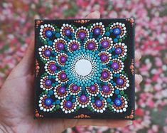"Dot Mandala Painting on Mini Wrapped Canvas 4"" x 4"" Easel Included. Signed Original Art"