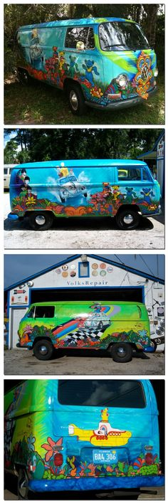 The bus came by and I got on... This is an awesome mural painted VW T2 Double Door Panel Hippie Bus celebrating Herbie, The Grateful Dead, and Beatles ☮ pinned by http://www.wfpblogs.com/author/southfloridah2o/