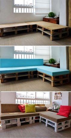 Artesanato Reciclagem (Blog): Crie um sofá com reciclagem de pallets
