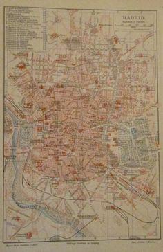 1896 MADRID SPANIEN alte Landkarte Karte Antique Map Lithographie