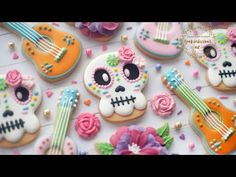 Pastel Sugar Skulls, Guitars and Flower Dia De Los Muertos Cookies Edible Paint, Royal Icing Decorations, Day Of The Dead Skull, Flower Cookies, Halloween Cookies, Cookie Decorating, Sugar Cookies, Sweet, Sugar Skulls