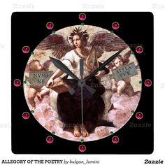 ALLEGORY OF THE POETRY SQUARE WALL CLOCKS