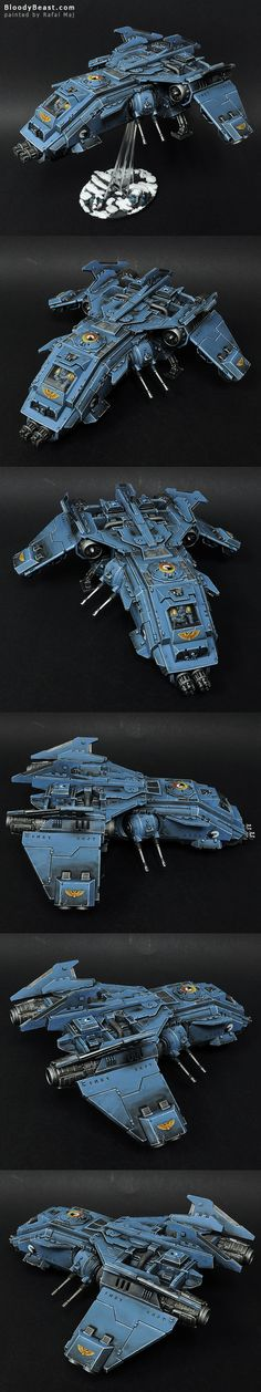Space Wolves Fire Raptor Gunship painted by Rafal Maj (BloodyBeast.com)