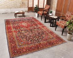 "Turkish Hand knotted Antique Living Room Rug Distressed Floral Farmhouse Bohemian Teppich 6'1"" x 9'8"", Code: 071788"