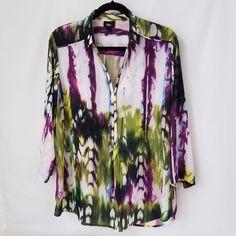 Women's Blouse Tye Dye Large Purple, Green, White, Blue Polyester Mossimo #Mossimo #Tunic #Casual