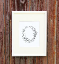 Floral Wreath Giclee Print with Custom Calligraphy, $12