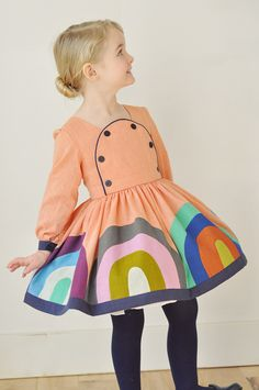 Girl's #rainbow #dress. It's kind of overwhelmingingly adorable, in a  very germanic sort of way...