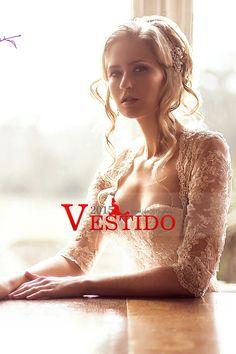2014 vestido de novia de media manga vaina / columna Con Capilla Satén cola