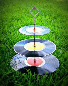 3 Tier Record cupcake stand Theme 50's 60's by TerrestrialTrinket