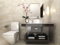 Es muy importante que los accesorios de baño hagan juego con su decoración. Para el baño blanco con negro, adorna con accesorios color plata, también algunos negros y otros blancos para darle equilibrio. Línea Travertino Royal de #Interceramic.