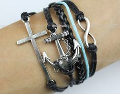 Infinity & Anchor Bracelet antique silver anchor and by itouchsoul, $6.99
