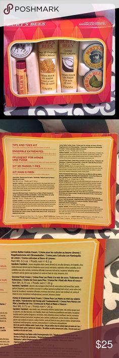 Burt's Bees Tips and Toes Kit One of each: Hand Salve, Almond & Milk Hand Creme, Lemon Butter Cuticle Cream, Coconut Foot Cream, Honey & Grapeseed Hand Cream, Replenishing Lip Balm with Pomegranate Oil Burt's Bees Makeup Lip Balm & Gloss