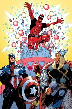 """✭ Deadpool & The Avengers by Jason Pearson ( I love how Steve is all like """"Oh God it's another Tony!"""" Thor just kind of stands there and is all like """"This must be a Midgardian tradition. How Valiant!!""""and poor Tony is just like """"WTF?!?! Was that?!?!?!"""")"""