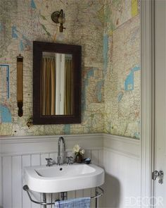 cloakroom papered with old AAA maps; the wainscoting is painted in Farrow & Ball's Cornforth White. Exactly what I was looking for as want to do this in my cloakroom!