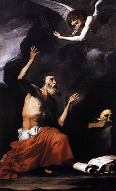 "Jusepe de Ribera, ""Lo Spagnoletto"" St. Jerome and the Angel, 1637"