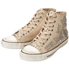 Women's Ash Vibration Leather Studded Trainers - Clay ($120) ❤ liked on Polyvore featuring shoes, sneakers, distressed shoes, clay shoes, pointed shoes, ash footwear and studded shoes