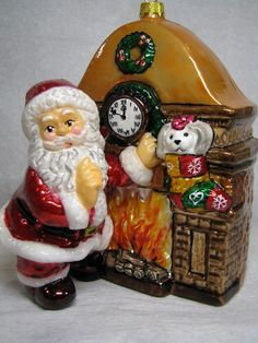 Santa at the fireplace