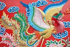 the phoenix wall in chinese temple
