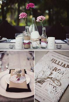 Decoración para boda vintage usando blondas de papel
