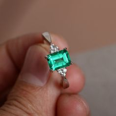 http://rubies.work/0163-ruby-rings/ Emerald Ring Promise Ring For Her Emerald by KnightJewelry on Etsy