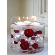 95 Red & White Pearls w/ Gems Accents-Jumbo/Assorted Sizes Vase Fillers for Decorating Centerpieces Simple Christmas, Christmas Home, Christmas Crafts, Merry Christmas, Christmas Ornaments, Winter Christmas, Xmas, Ornaments Ideas, Christmas Music