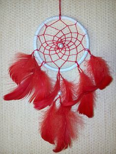 Small red dreamcatcher handmade asiczary on instagram
