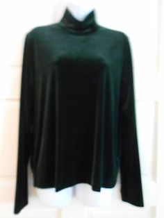womans top turtle neck dk green sz XL charter club work office casual