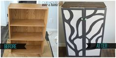 Turning this standard book shelf unto a cabinet with doors and a tree wood design on the front. A unique and bold statement for the furniture piece. This is now a great storage cabinet and coffee bar in the dining room. To see more click on post or visit http://ourhousenowahome.com/