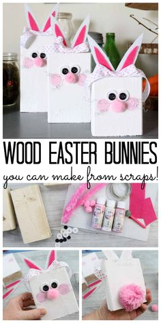 Make these Easter bunnies from scrap wood! A quick and easy spring craft idea! Holz Handwerk , Make these Easter bunnies from scrap wood! A quick and easy spring craft idea! Make these Easter bunnies from scrap wood! A quick and easy spring. Scrap Wood Crafts, Wood Block Crafts, Paper Crafts, Easter Projects, Easter Crafts For Kids, Spring Crafts, Holiday Crafts, Thanksgiving Crafts, Ideas Actuales