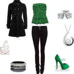 """Slytherin outfit"" by ginger2012-1 on Polyvore"