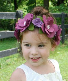 Purple Felt Flower Headband Flower Crown Headband by CuriousBloom, $30.00