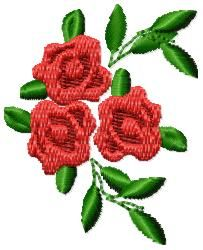 And Sew On Embroidery Free Embroidery Design: Roses 2.16 inches H x 1.75 inches W