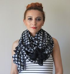 107  24 inches / black and white lace scarf / scarf by fashioncesa, $24.90