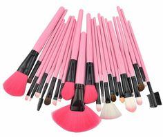 24PCS High Quality Professional Brush Set HOT PINK