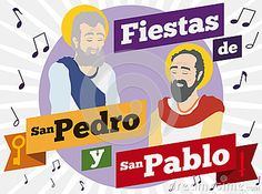 Poster with Saints Peter and Paul portraits in flat style with musical notes around them to commemorate Colombian celebrations in this holiday texts written in Spanish. St Peter And Paul, San Pablo, Flat Style, Fashion Flats, Illustrations Posters, Texts, Celebrations, Musicals, Spanish