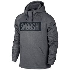 "Men's Nike ""Swoosh"" Therma Hoodie ($55) ❤ liked on Polyvore featuring men's fashion, men's clothing, men's hoodies, grey other, mens hoodie, mens patterned hoodies, mens grey hoodie, nike mens hoodies and mens hooded sweatshirts"
