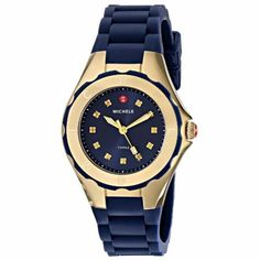 Michele-MWW12P000004-Womens-Jelly-Bean-Gold-Plated-Navy-Blue-Silicon-Watch-NEW