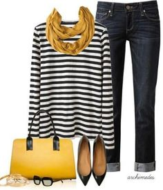 Casual Outfits - Mustard Proenza Schouler shirt, PAIGE DENIM jeans, Flat Shoes, Marni bag, mustard Scarf by Mode Outfits, Fall Outfits, Casual Outfits, Fashion Outfits, Womens Fashion, Fashion Trends, Dress Casual, Outfit Winter, Outfit Summer
