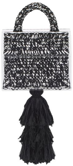 Sparkly silver and black hand woven small 'Copacabana' purse with the large tassel, inside pocket, macramé handle and rectangle transparent plexiglass bottom and frames.  62% rayon ,38% metallic yarn  100% Microfiber acrylic  100% polyamide  Height: 16.0 cm  Width: 20.0 cm  Depth: 10.0 cm  Preorder will be shipped in ten days after the payment has been processed.  Handmade in Georgia